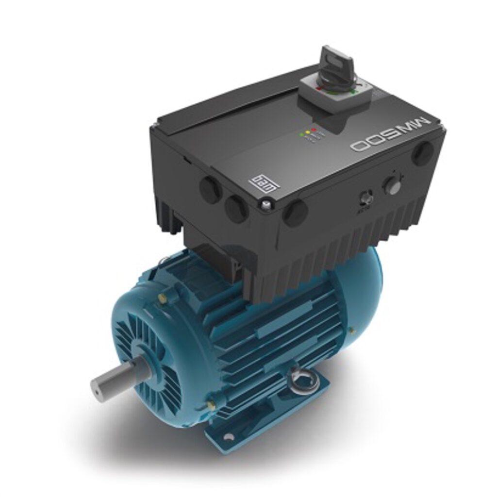 WEG2110-Şekil 1: Motor üzerinde tasarlanmış MW500 frekans invertörü, doğrudan motor terminal kutusuna takılabilir.